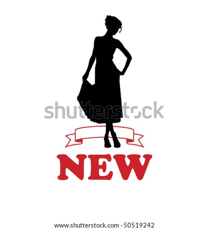 Arrangement with the female silhouette. She wears a dress. Below is the inscription NEW. - stock vector
