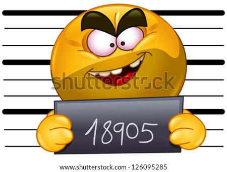 Arrested emoticon with measuring scale in back holding his number posing for a criminal mug shot - stock vector