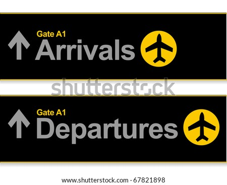 Arrival and departures airport signs isolated over a white background. - stock vector
