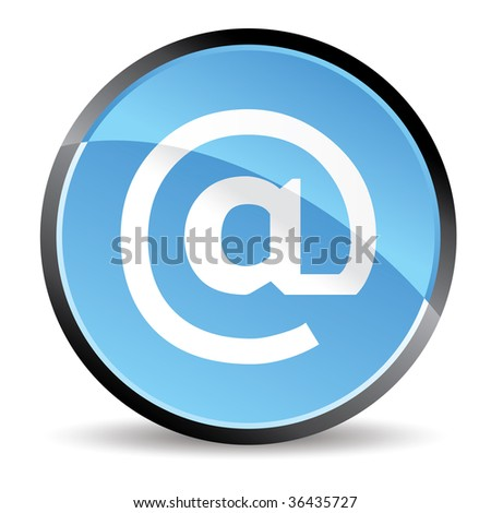 arroba icon in blue colors - stock vector