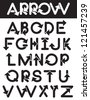 Arrow Alphabet A through Z Vector No open shapes or paths. - stock photo
