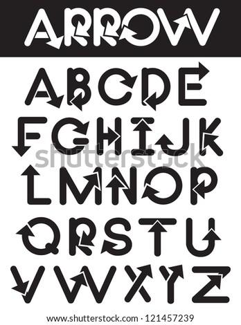 Arrow Alphabet A through Z Vector No open shapes or paths. - stock vector
