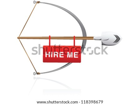 Arrow and arch by worker shovel - stock vector