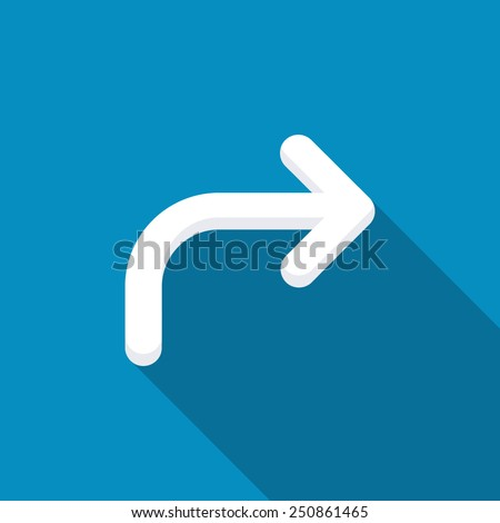 Arrow angle turning to right icon. Modern design flat style icon with long shadow effect - stock vector