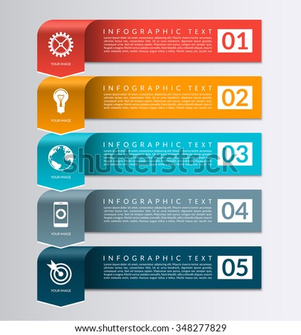 Arrow banner for business infographics. 5 steps, parts, options vector design template - stock vector