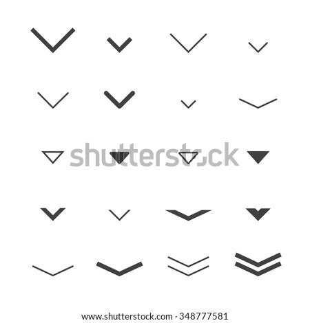 Arrow  buttons down set for scrolling design. Vector trendy design. - stock vector