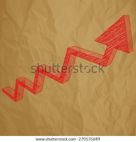 Arrow charts analysis 3d red scribble on crumpled paper brown background - stock vector