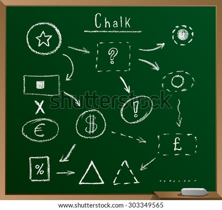 arrow, circle, square, triangle, infographics, presentations, chalk, vector, school green board