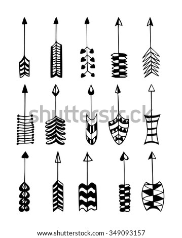 Arrow Clip Art Set In Vector On White Background Hand Drown Arrows Retro Style