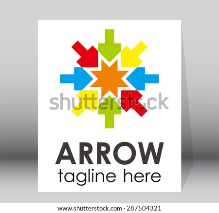 Arrow colorful play puzzle logo entertainment element symbol shape icon abstract template - stock vector