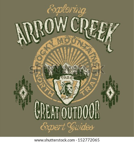 Arrow Creek the great outdoor - Vector artwork for boy sportswear - 3 custom colors - Grunge effect in separate layer