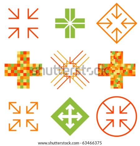 Arrow cross signs. - stock vector
