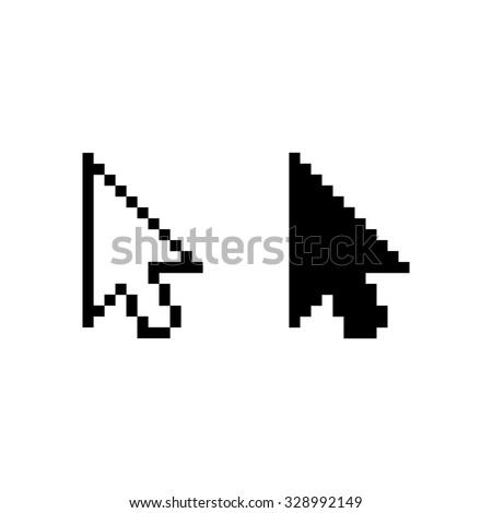 arrow cursor - black vector icon - stock vector