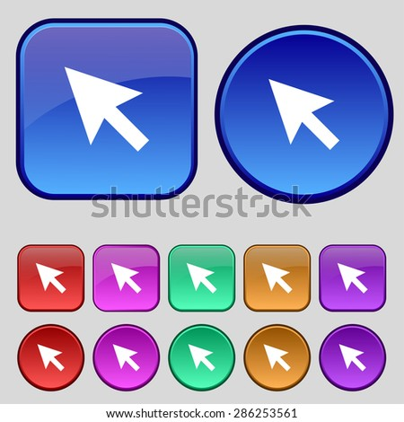 arrow cursor, computer mouse icon sign. A set of twelve vintage buttons for your design. Vector illustration - stock vector