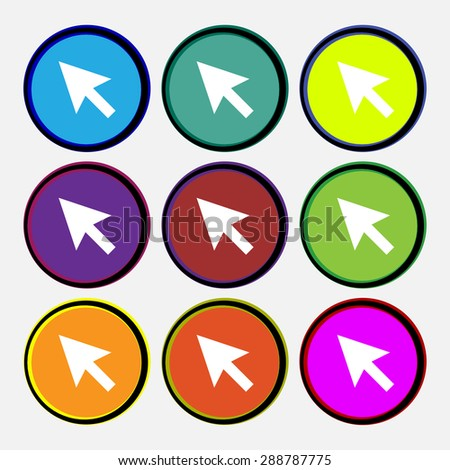 arrow cursor, computer mouse icon sign. Nine multi colored round buttons. Vector illustration - stock vector