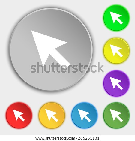 arrow cursor, computer mouse icon sign. Symbol on five flat buttons. Vector illustration - stock vector