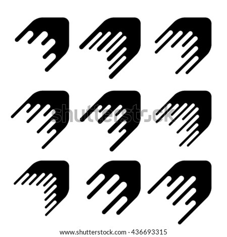 arrow decoration motion line symbol vector - stock vector