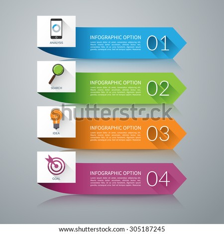 Arrow design elements for infographics. Can be used for workflow layout, diagram, graph, number options,  presentation, web design. 4 steps business concept. Vector background - stock vector