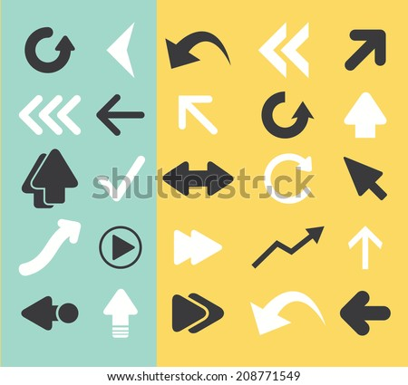 arrow, direction black flat icons, signs, symbols set, vector - stock vector