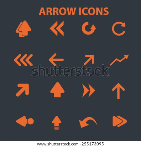 arrow, direction flat isolated concept design icons, symbols, illustrations on background for web and applications, vector - stock vector