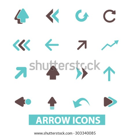 arrow, direction flat isolated icons, signs, illustrations set, vector - stock vector