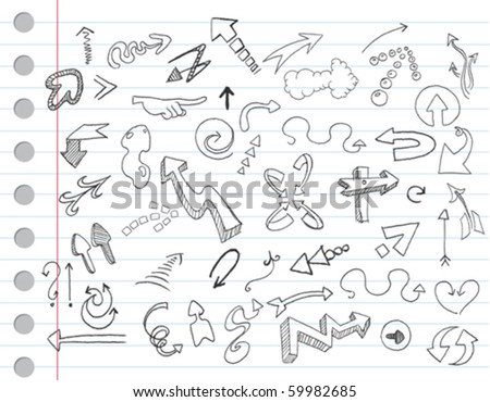 Arrow doodles on a notebook paper - stock vector