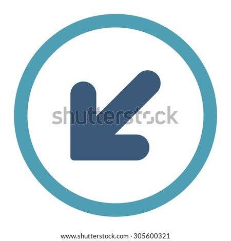 Arrow Down Left vector icon. This rounded flat symbol is drawn with cyan and blue colors on a white background.