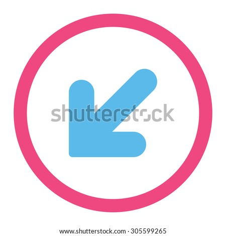 Arrow Down Left vector icon. This rounded flat symbol is drawn with pink and blue colors on a white background.