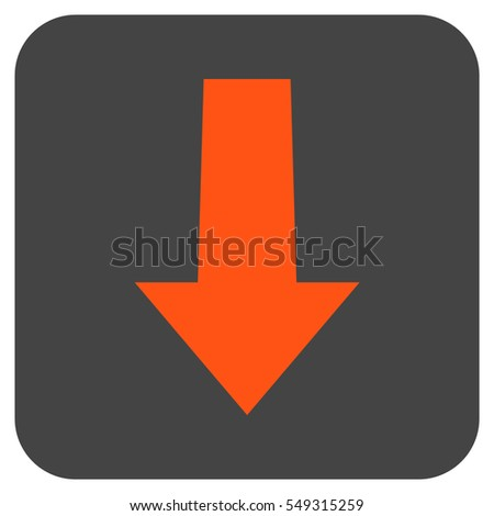 Arrow Down vector icon. Image style is a flat icon symbol inside a rounded square button, orange and gray colors.