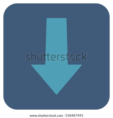 Arrow Down vector icon. Image style is a flat icon symbol on a rounded square button, cyan and blue colors.