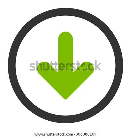 Arrow Down vector icon. This rounded flat symbol is drawn with eco green and gray colors on a white background.