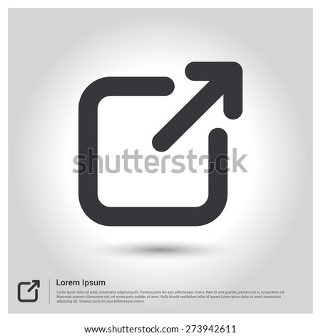 Arrow Expand Icon, Full Scree icon. screen Scale icon. pictogram icon on gray background. mobile application. Simple flat metro design style. Outline Icon. Flat design style. Vector illustration  - stock vector
