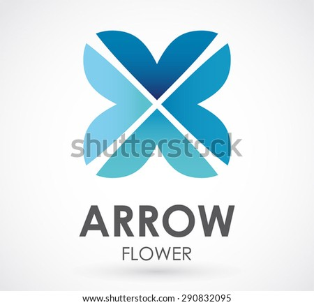 Arrow flower blue logo element design vector business shape icon symbol abstract template identity beautiful - stock vector