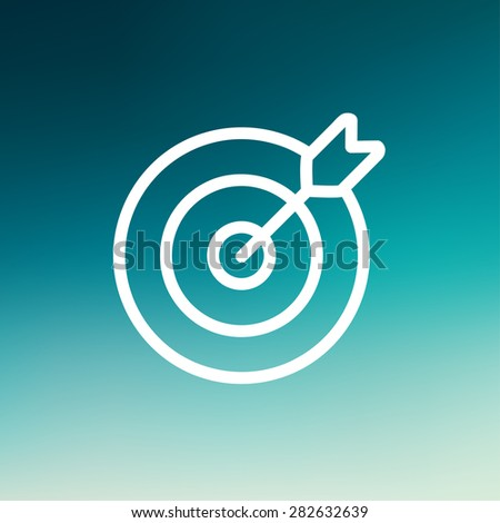 Arrow hit the target icon thin line for web and mobile, modern minimalistic flat design. Vector white icon on gradient mesh background. - stock vector