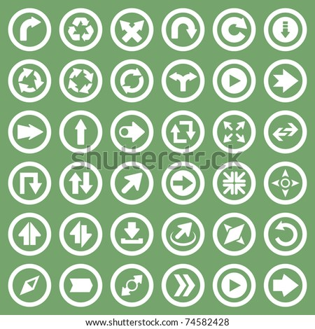 Arrow icon set. Compass, direction, recycle, next and move symbol. - stock vector