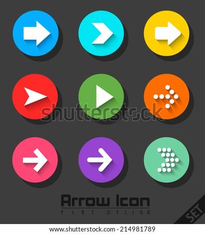 Arrow Icon Set Flat Design - stock vector