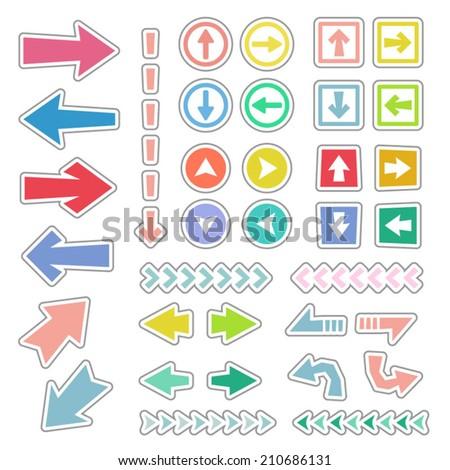 Arrow icon set  in sticker style / Vector EPS 10 illustration  - stock vector