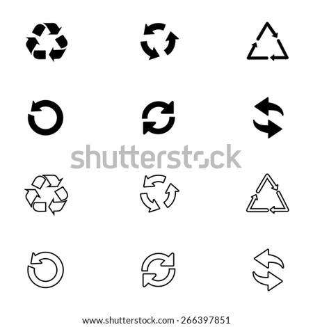 Arrow icon set or recycle symbols - stock vector