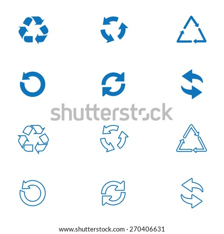 Arrow icon set or recycle symbols - stock vector