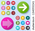 Arrow icon set. Vector. - stock photo