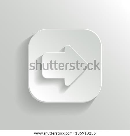 Arrow icon - vector white app button with shadow - stock vector