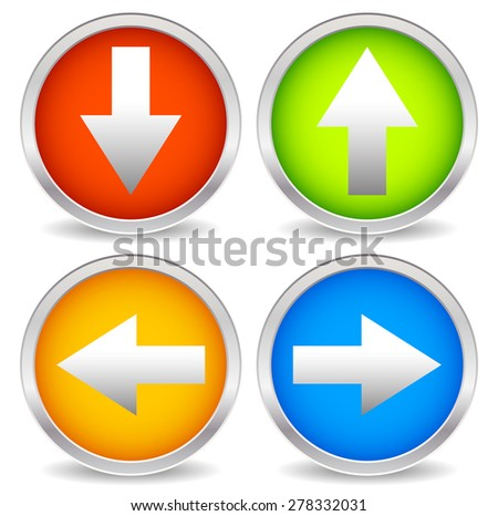 Arrow icons pointing up, down, left and right. Vector graphics.