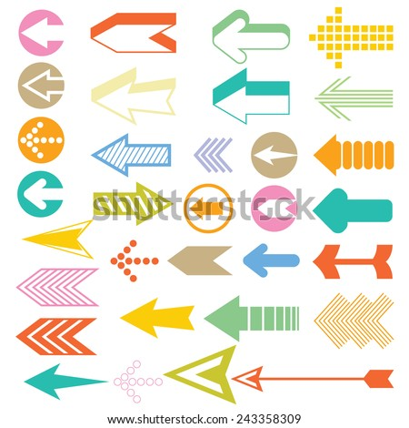 arrow icons set, arrow vector - stock vector