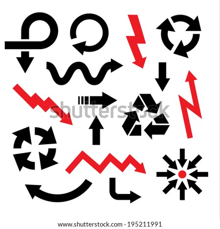 arrow icons set collections. black and red universal symbols isolated on white background. vector illustration  - stock vector