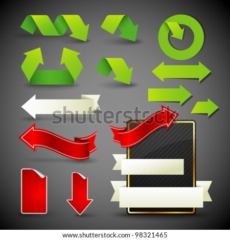 arrow icons, symbols and banners. design elements - stock vector