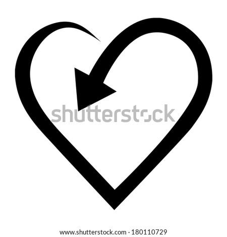 Arrow in heart shape - stock vector