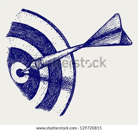Arrow in target. Doodle style. Vector EPS 8 - stock vector