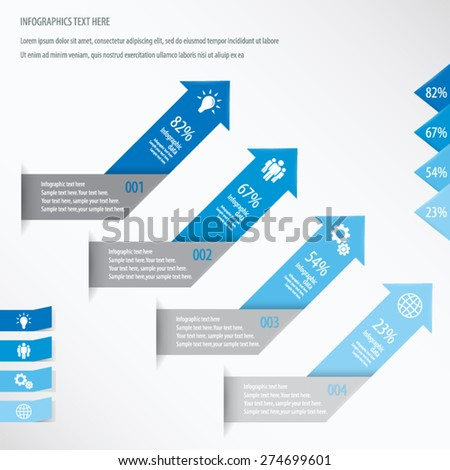 Arrow Infographic Background - Icons and arrows for 4 options. Blue. EPS10 vector. - stock vector