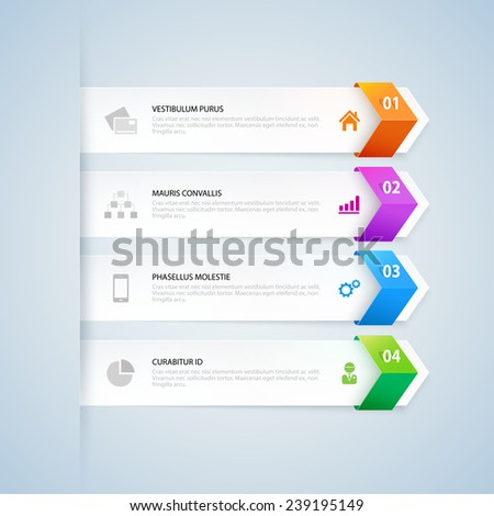 Arrow infographic design elements. Steps option banners. Vector illustration. Can be used for infographics, web design, diagram, banners, step up options, workflow layout, etc. - stock vector