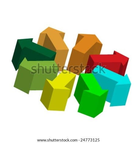 Arrow junction in a 3d vector pointing in all direction - stock vector